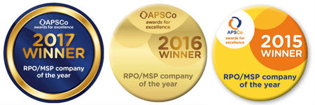 APSCo RPO/MSP of the year winner logos for 2015, 2016 and 2017