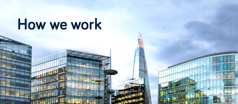 Tops of London city buildings with the words How we work