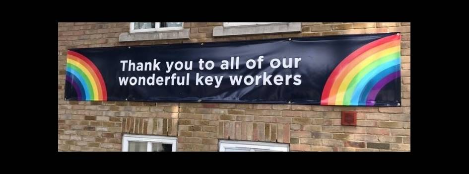 Rainbow poster which says 'Thank you to all of our wonderful key workers'