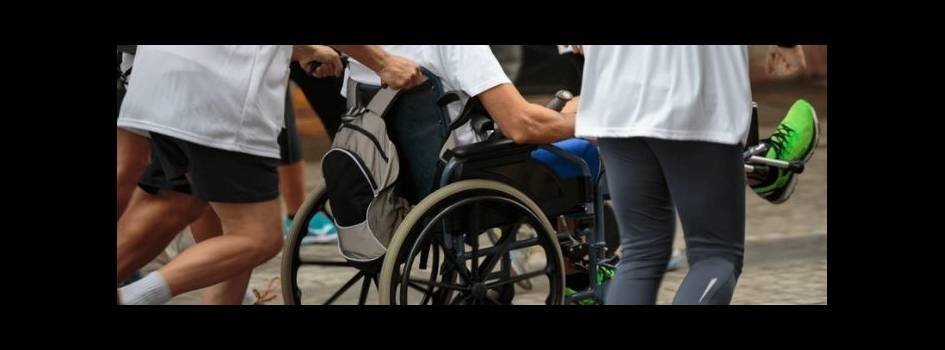 Disabled athletes taking part in race