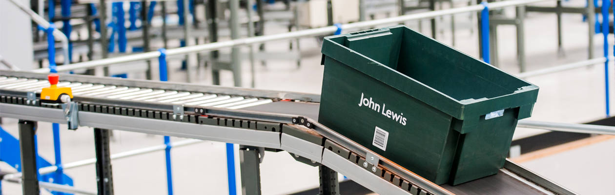John Lewis green tote in their warehouse