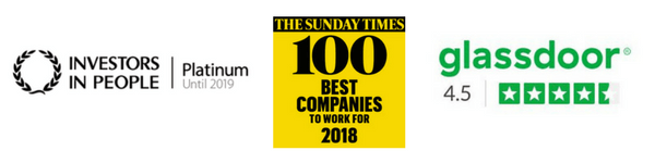Investors in People Platinum logo, Sunday Times Best Companies logo and Glassdoor 4.5 star rating logo