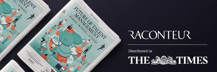 Image of future of talent management report, with Raconteur logo and text distributed in The Times