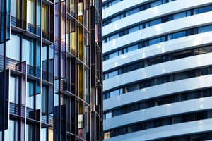 Coloured glass buildings