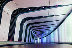 Curved view of corridor with lights